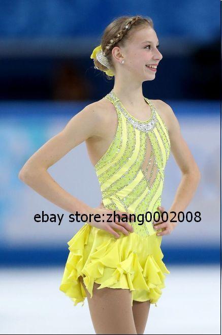 Ice skating dress.Yellow Competition Figure Skating dress.Baton Twirling Costume