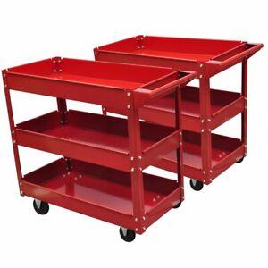 vidaXL-2x-Workshop-Tool-Trolley-100kg-3-Shelves-Garage-Transport-Carrier-Cart