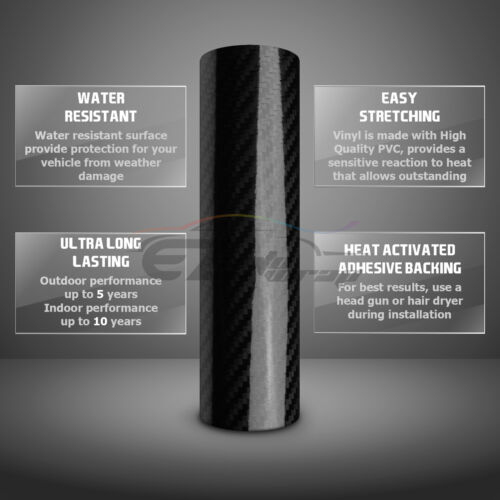 Premium 5D Gold Gloss Carbon Fiber Vinyl Wrap Bubble Free Air Release DIY Film