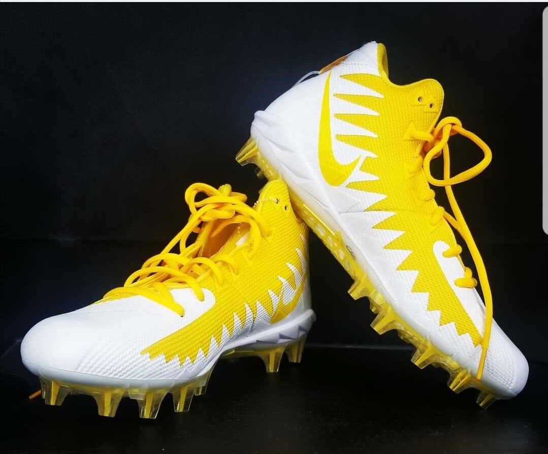 NEW ALPHA MENACE PRO MID FOOTBALL CLEATS-YELLOW WHITE 871451-711 SIZE 9 SHOES