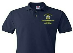 NAVAL SUPPORT ACTIVITY BAHRAIN FIFTH FLEET  EMBROIDERED POLO SHIRT/SWEAT/JACKET.