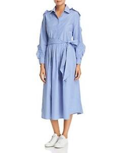 Weekend-Max-Mara-Women-039-s-Collared-Long-Sleeve-Shirt-Dress-Blue-Size-4