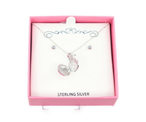 Macy/'s Genuine Sterling Silver Heart Pendant//Necklace Set C508 $80