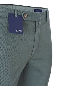 Men/'s 50 Slim Fit Dark-blue Cotton Piqué  spring-summer collecti Incotex Pants