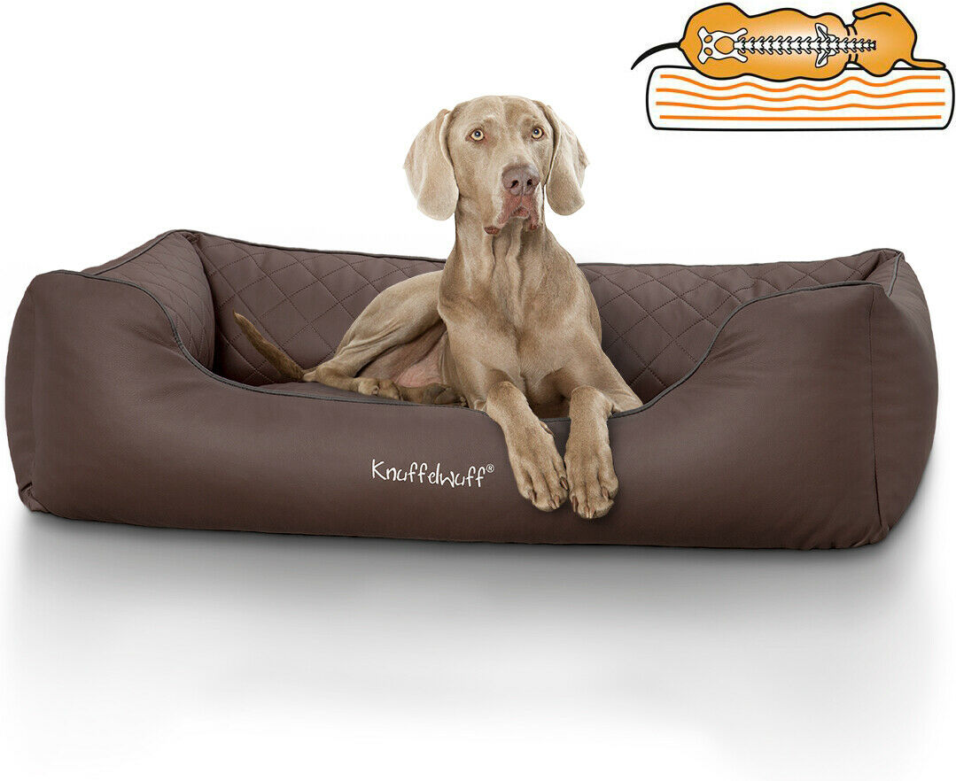 Knuffelwuff Orthopädisches Hundebett Madison Kunstleder XXL 120 x 85 cm Braun