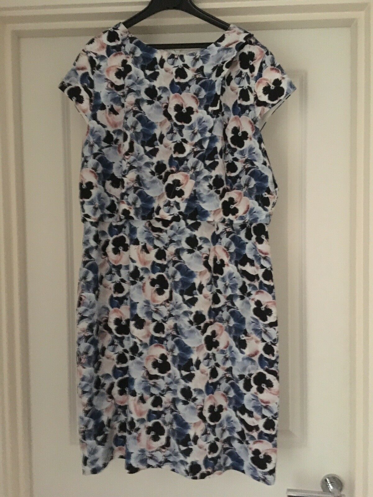 PHASE EIGHT Pale bluee Pansy Print Popover Dress size 18 UK