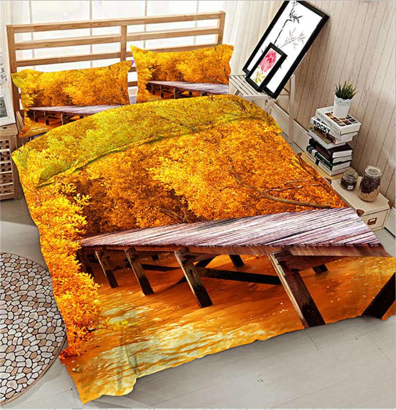 Romantic Foot-bridge 3D Printing Duvet Quilt Doona Cover Pillow Case Bedding Set