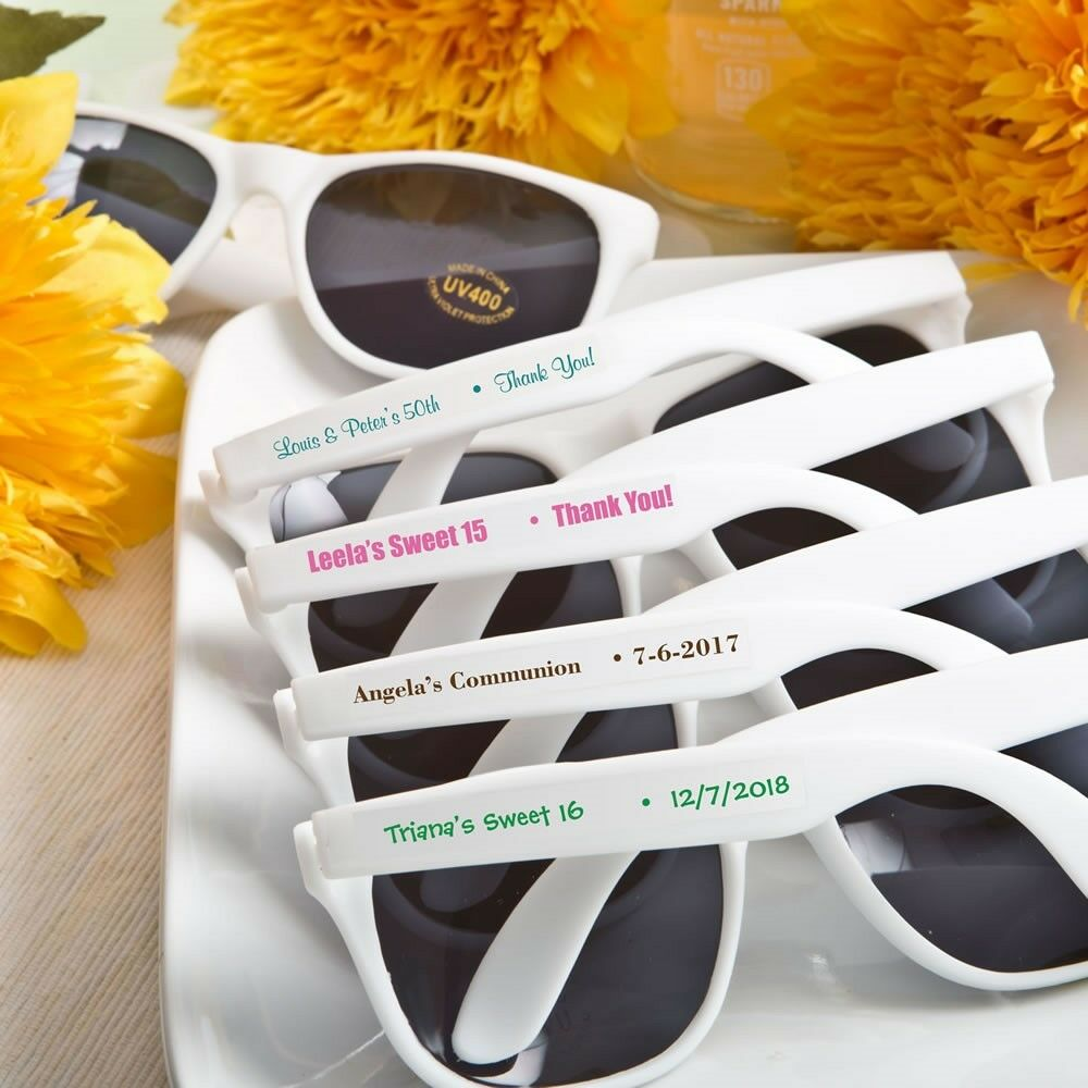 150 Personalized blanc Sunglasses Beach Wedding Bridal Shower Party Favors