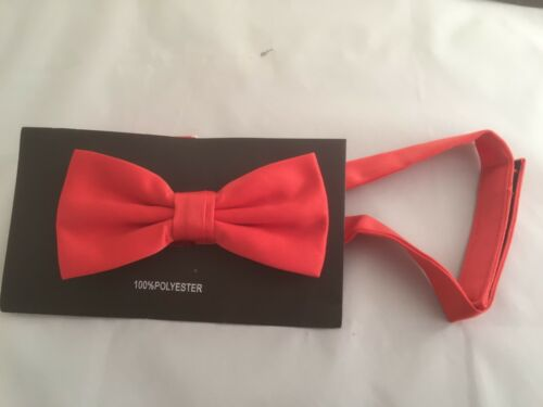 """BOYS Polyester Bow Tie OR in Sets OR 9/""""  Square Hankie Only Coral Red MENS"""