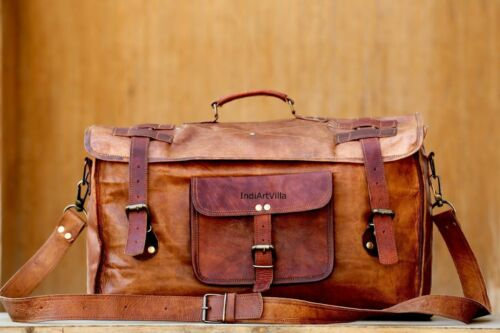 Men/'s Real Leather Travel Luggage Garment Duffle Gym Bags Messenger Shoulder NEW
