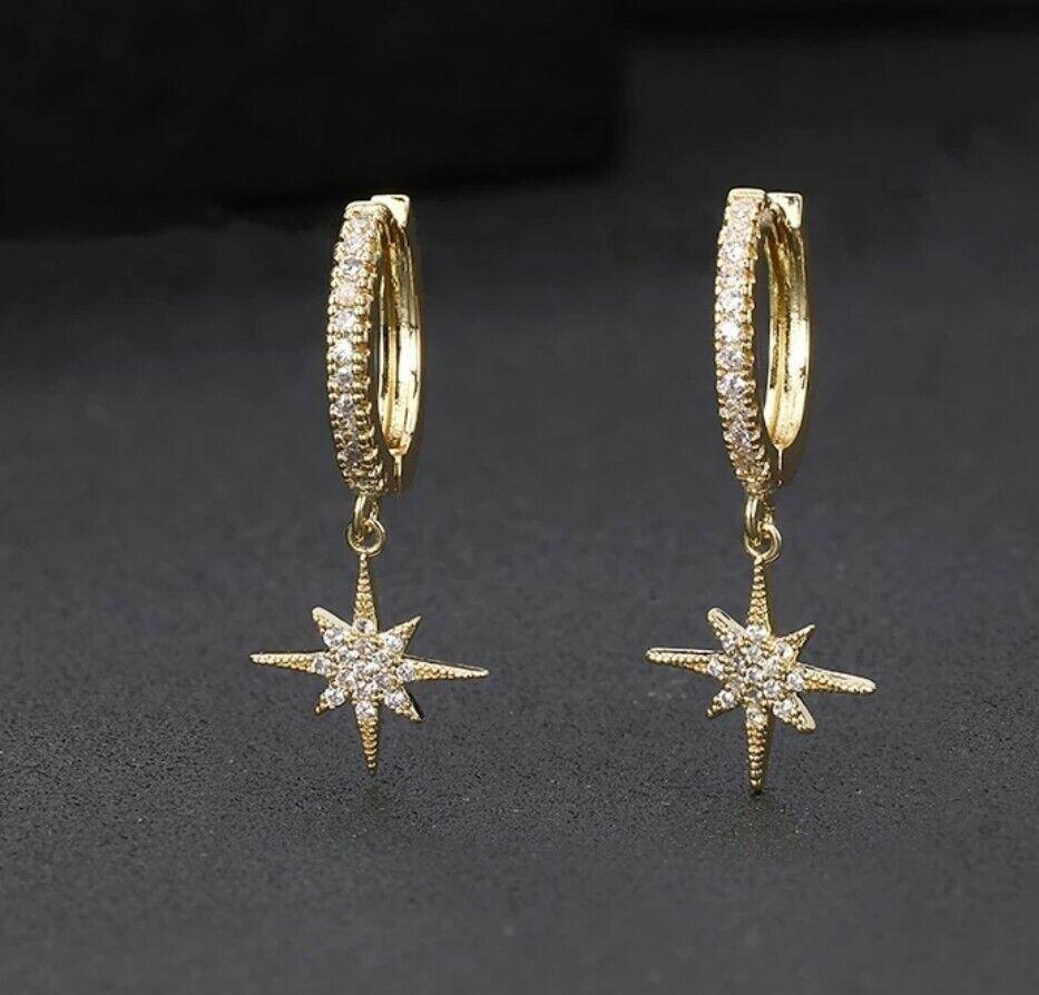 -we❤- Gold Star Hoop Earrings High Quality Designer Style