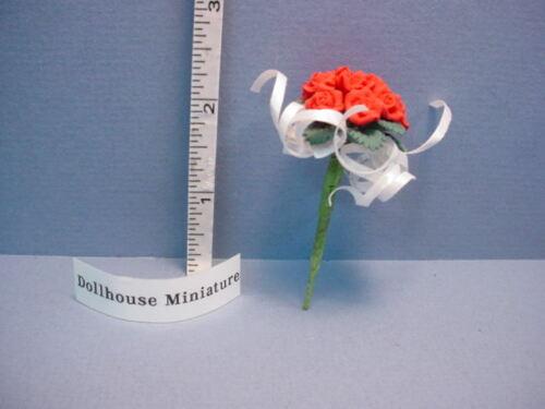 Red Roses White Ribbon  #E2901 Miniature Bridal Bouquet