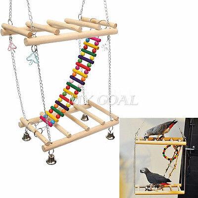 Bird Parrot Toy Hanging Swing Cages Rope Pet Chew Bell Feeder Parakeet Cockatiel