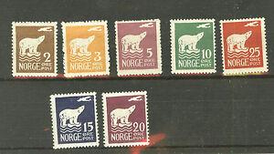 (Polar Bear, Exploration) Norway:Sc. 104-110 MNH, 1925 Polar Bear set