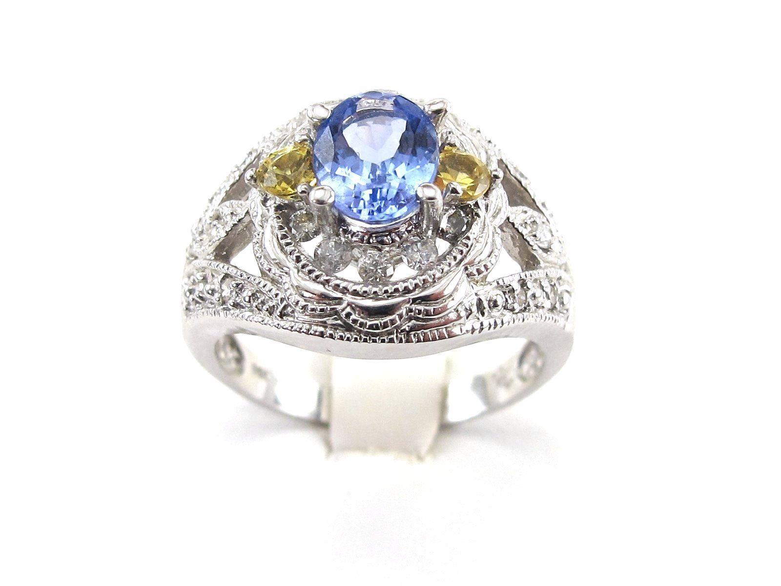 14k White gold Diamond Tanzanite And Yellow Topaz Ring Size 8