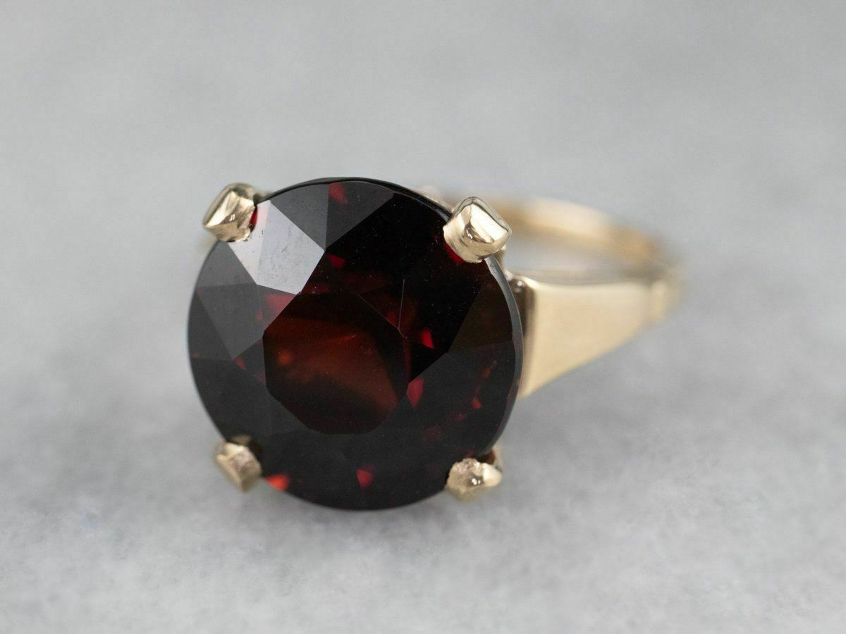 Garnet Gold Solitaire Ring - image 3