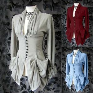 Donne-Ragazze-Gothic-Steampunk-Svasata-Maniche-con-Lacci-sciolti-T-shirt-Top-Plus-Chen