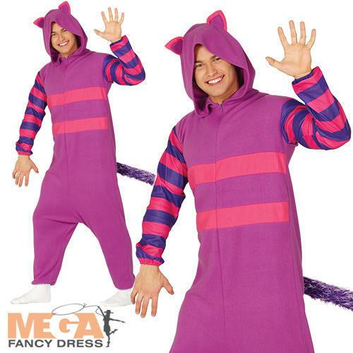 Purple Cat Adults Fancy Dress Wonderland Fairy Tale Mens Ladies Animal Costume