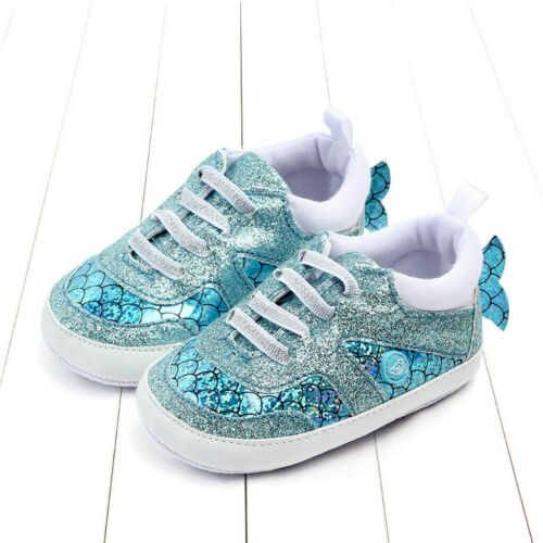 Newborn Baby Girls Boys Cartoon Sequins Scale Fish Sneakers Shoes Infant 0-18M