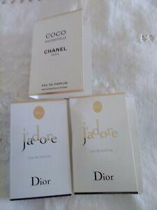 🌼🌼 CHANEL DIOR PARFUM J ADORE/ COCO MADEMOISELLE 3 PROBE SAMPLES VIAL