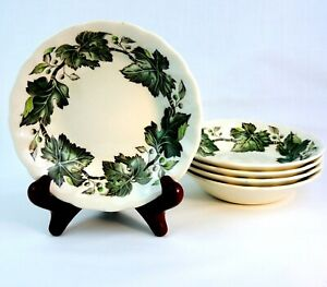 Johnson-Brothers-Vtg-5-Berry-Sauce-Bowls-Cream-Green-Ivy-And-Berries-England