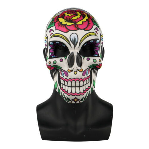 Day of the Dead Skull Mask Flowers Halloween Masquerade Full Face Scary Mask