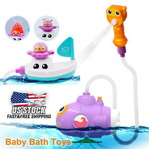 Baby-Children-Kids-Bath-Toys-Tub-Bathroom-Submarine-Water-spray-toy-US-Stock