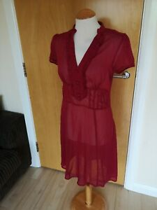 Mesdames-LAURA-ASHLEY-robe-rouge-taille-10-mousseline-transp-Smart-Soiree-Jour