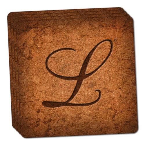 Letter L on Cork Design Thin Cork Coaster Set of 4