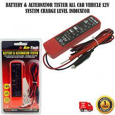 BATTERY & ALTERNATOR TESTER ALL CAR VEHICLE 12V SYSTEM CHARGE LEVEL INDICATOR