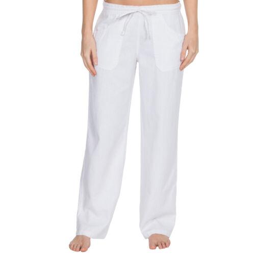 Womens Linen Trousers Wide Fit Summer Pants Drawstring PocketsRegular /& Plus