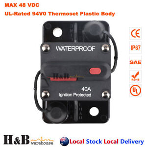 50A AMP Circuit Breaker Dual Battery IP67 Waterproof 12V 24V Fuse Manual Reset