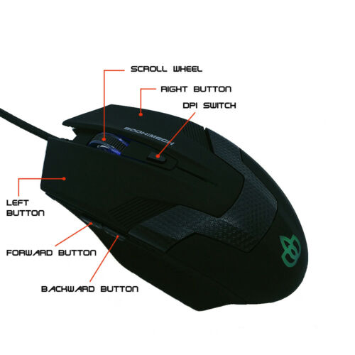 6 Buttons Optical USB Wired Gaming Mouse Mice For PC Laptop