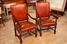 Coppia di poltrone mobili in legno noce ecopelle design vintage stile antico 900