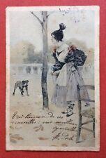 CPA. 1905. Illustrateur Henry MORIN. Jeune Femme au Chignon. Chien. Chaise.