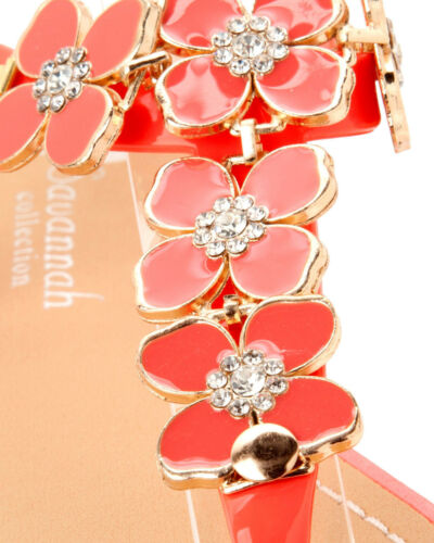 WOMENS CORAL FLOWER DIAMANTE HOLIDAY SHOES FLIP FLOP SUMMER SANDALS LADIES SIZE