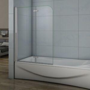 100cm duschabtrennung badewannenaufsatz 2 teilig faltwand esg nano glas dusche b 5606847620415 - Faltwand dusche ...