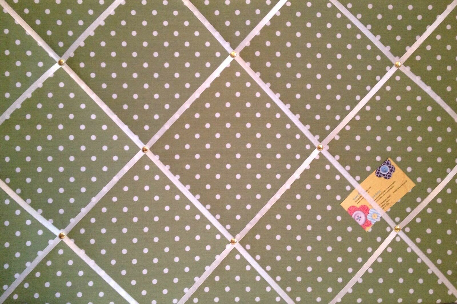 Grün & Weiß Polka Dot Hand Crafted Fabric Notice Memory Pin Memo Board