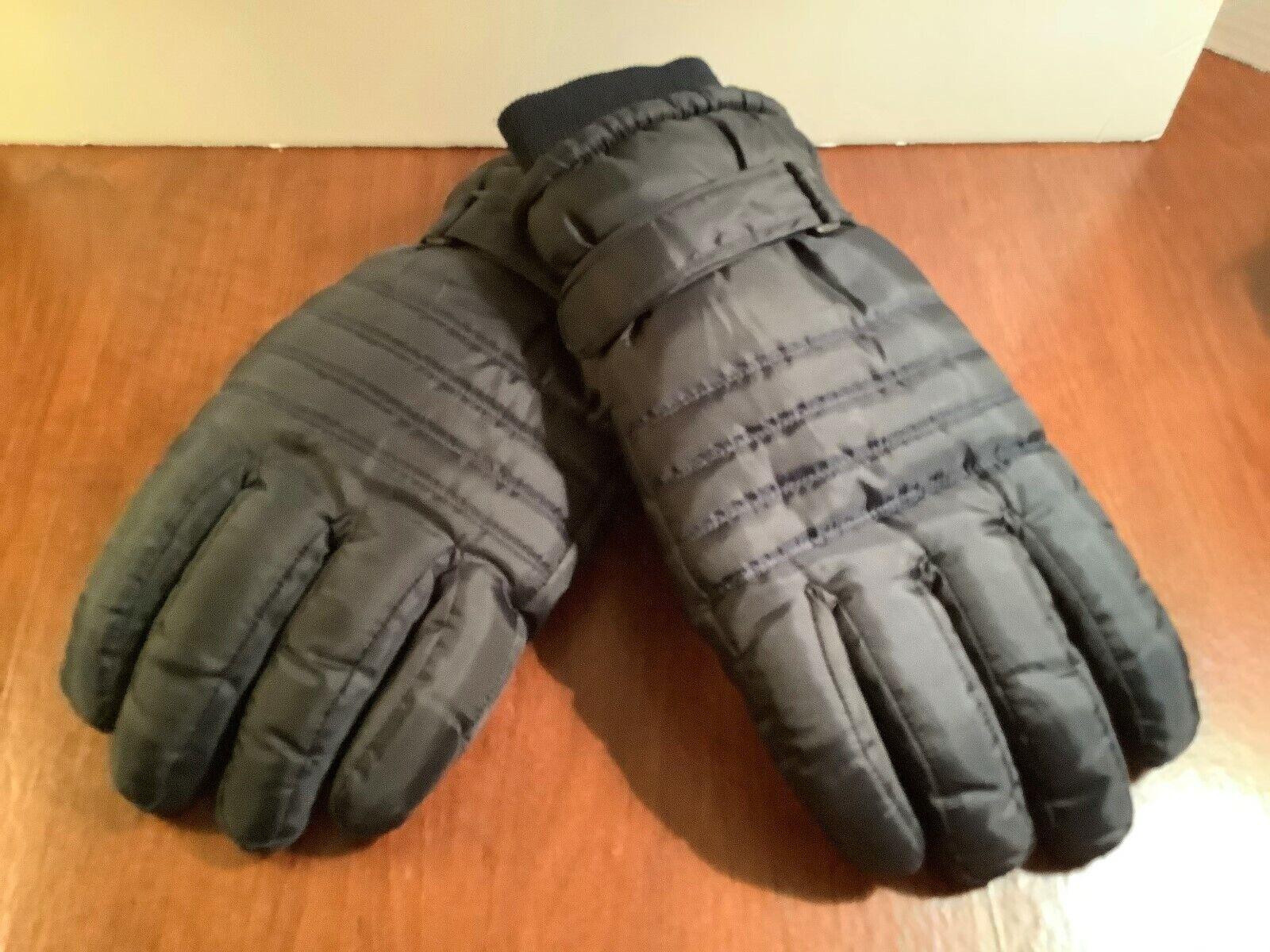 Mens Insulated Winter Ski Gloves Black Waterproof Nonslip Grip