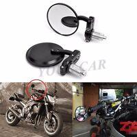 Black Motorcycle 3round 7/8handle Bar End Mirrors For Honda Harley Kawasaki Us