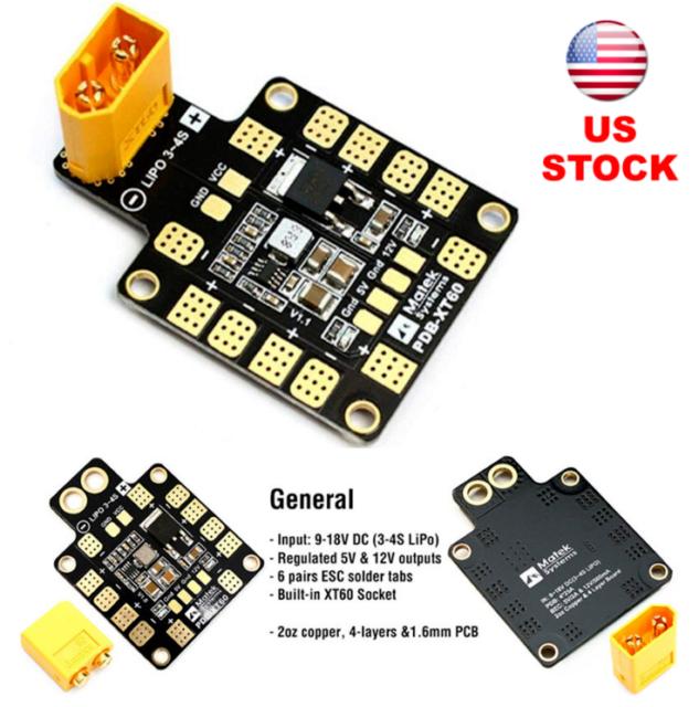 PDB XT60 w//BEC 5V//12V Power Distribution Module Board for FPV Drone Quad