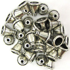 30 11mm silver plated pewter cone bead caps findings
