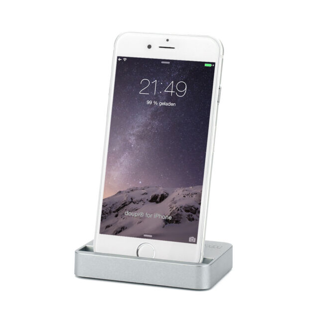 doupi Docking Station iPhone 6 6S 7 Plus 5 5C 5S SE iPod Laden Daten Sync Grau