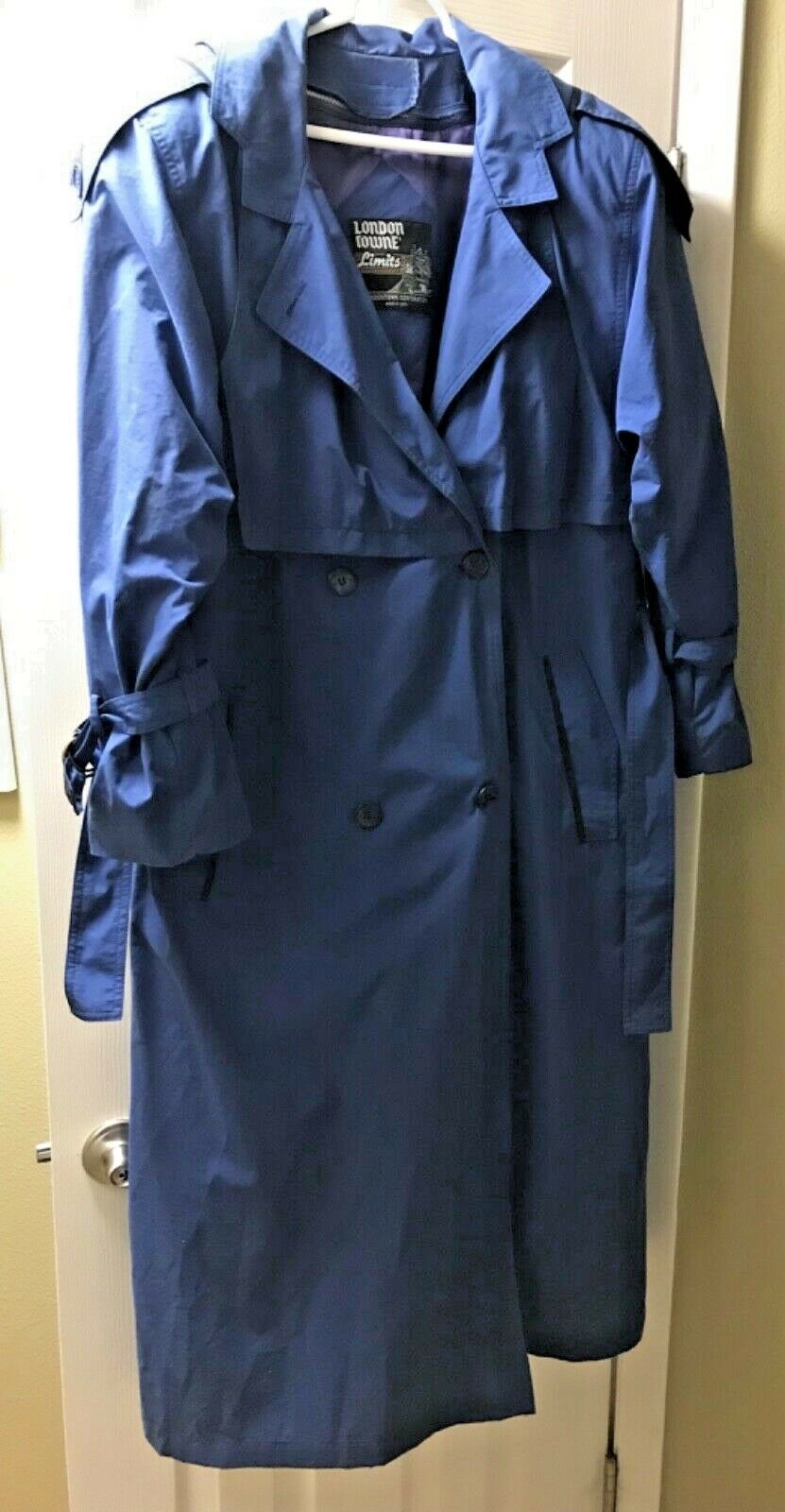 LONDON TOWNE bluee WOMENS Rain All Weather TRENCH COAT Zippered Lining SIZE 10 R