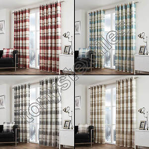CHECK STRIPED RING TOP LINED PAIR EYELET READY MADE CURTAINS RED - Ready made curtains red
