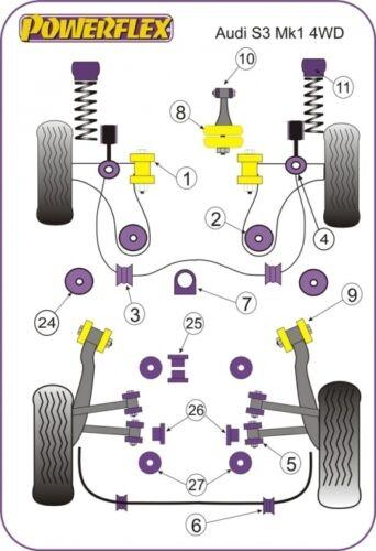 4WD Powerflex Rear Diff Rear Mounting Bush Kit for Audi S3 Models 1999-03 8L