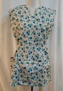 Vintage-50s-60s-Full-Length-Apron-With-Large-Pockets-Blue-Floral-Rickrac-Trim
