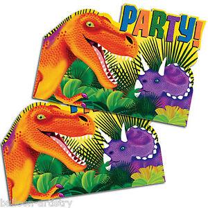 8 Prehistoric Dino Dinosaur Party Invites Invitations plus Envelopes
