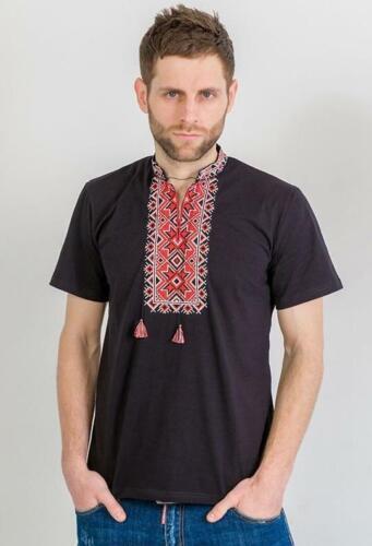 "Ukrainian Men/'s short sleeve shirt with red embroidery /""Alatyr/"" stylish"