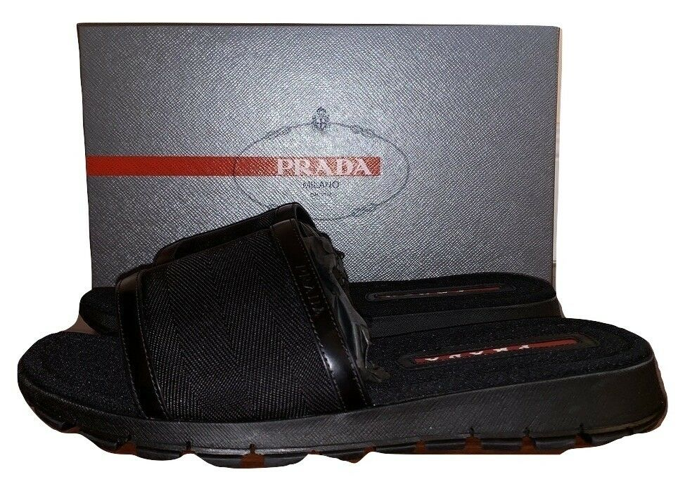 Prada Mens Leather And Canvas Slippers Sandals